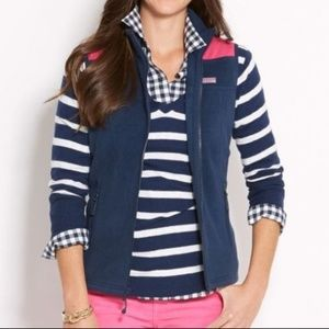 Vineyard Vines Fleece Shep Vest Blue/Pink Size XXS